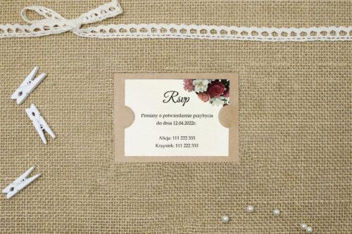 Dodatkowa karteczka do zaproszeń Boho Eleganckie – Czerwono biały bukiet