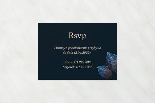 dodatkowa karteczka do zaproszeń ślubnych geometryczne nowoczesne niebieskie listki