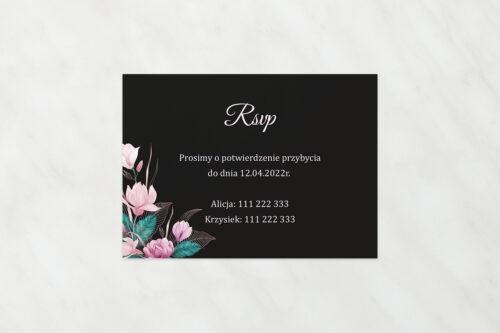 RSVP do zaproszeń Geometryczne Serce – Różowe Kwiaty Ciemne