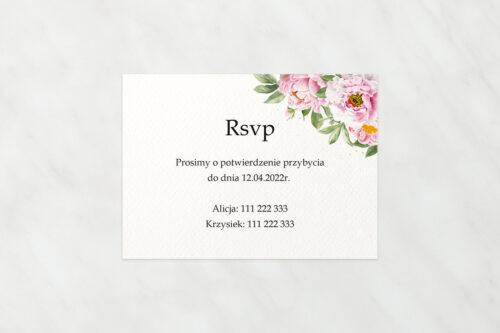Dodatkowa karteczka do zaproszeń ze sznurkiem – Różowe piwonie