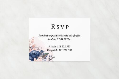 Dodatkowa karteczka do zaproszeń Pionowe ze wstążką – Granatowy akcent