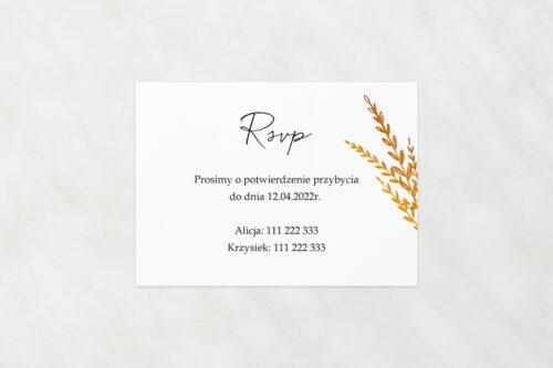 RSVP do zaproszeń jednokartkowe z Kwiatami - Złote kwiaty