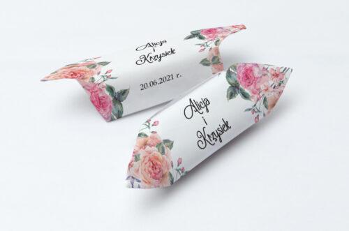 Krówki ślubne 1 kg - Różowy bukiet w sercu