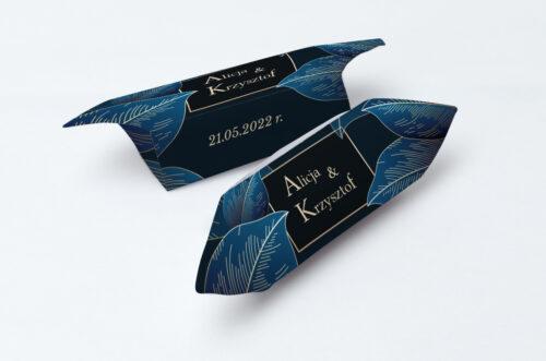 krówka geometryczne nowoczesne niebieskie listki