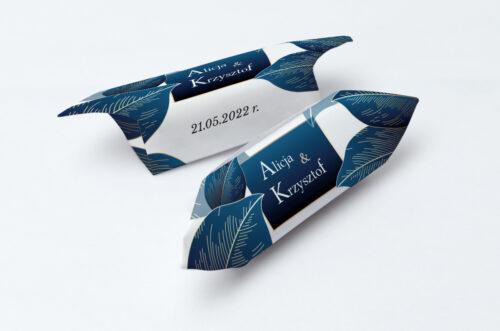 Krówki ślubne 1 kg Geometryczne Nowoczesne – Niebieskie Listki Jasne