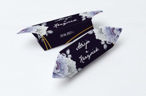 Krówki ślubne 1 kg - Kontrastowe z kwiatami - Niebieskie róże