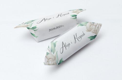 Krówki ślubne Kwiatowe Gałązki - Białe Róże