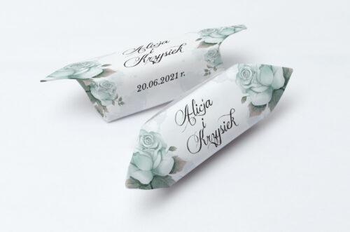 Krówki ślubne Kwiatowe Gałązki - Błękitne Róże