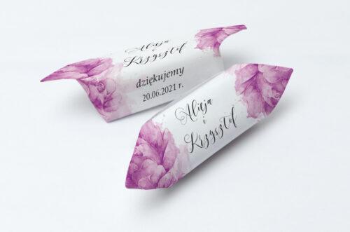 Krówki ślubne 1 kg do zaproszenia Namalowane Kwiaty - Fioletowe kwiaty