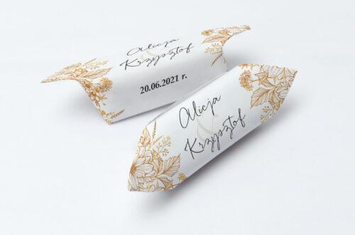 Krówki ślubne 1 kg - Jednokartkowe z Kwiatami - Złote kwiaty