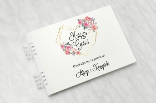 Księga gości do zaproszenia ze zdjęciem i sznurkiem – Różowy bukiet w sercu
