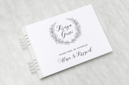 księga gości weselnych do zaproszenia minimalistyczne laur