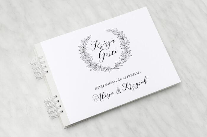 ksiega-gosci-slubnych-do-zaproszenia-minimalistyczne-laur-papier-matowy-dodatki-ksiega-gosci