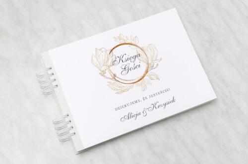 księga gości weselnych do zaproszenia minimalistyczne magnolia
