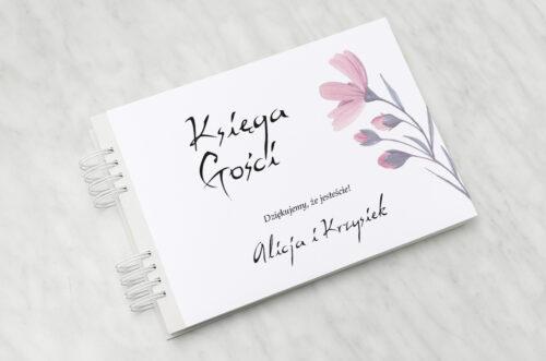 Księga gości ślubnych Bukiet ze wstążką - Delikatnie różowy