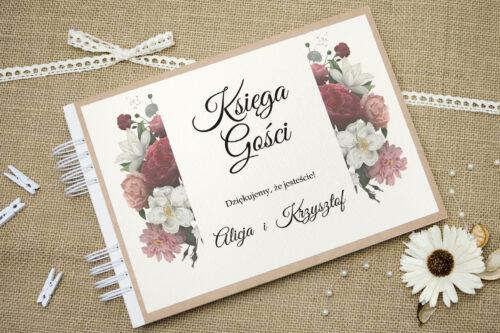 Księga gości ślubnych - Boho Eleganckie – Czerwono biały bukiet