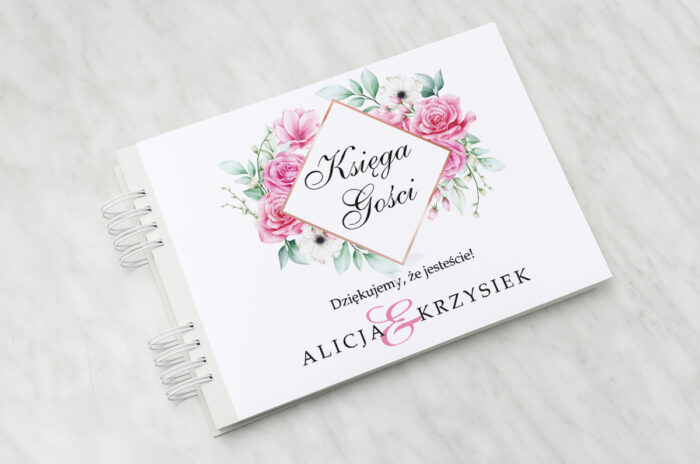 ksiega-gosci-slubnych-geometryczne-kwiaty-rozowe-roze-papier-satynowany-dodatki-ksiega-gosci