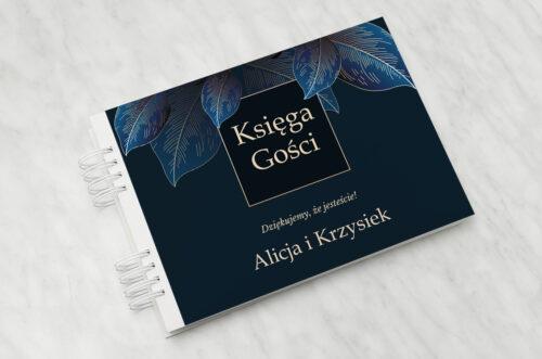 księga gości geometryczne nowoczesne niebieskie listki