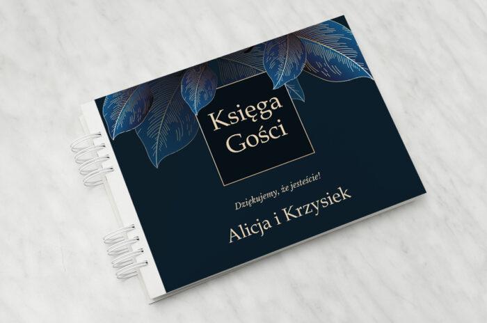 ksiega-gosci-slubnych-geometryczne-nowoczesne-niebieskie-listki-ciemne-papier-matowy-dodatki-ksiega-gosci