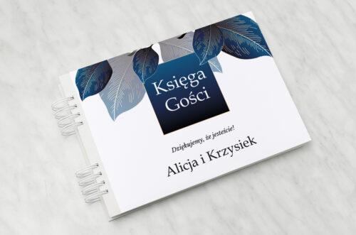Księga gości ślubnych Geometryczne Nowoczesne – Niebieskie Listki Jasne