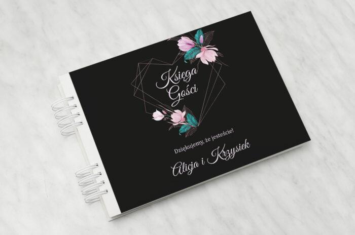 ksiega-gosci-slubnych-geometryczne-serce-rozowe-kwiaty-ciemne-papier-matowy-dodatki-ksiega-gosci