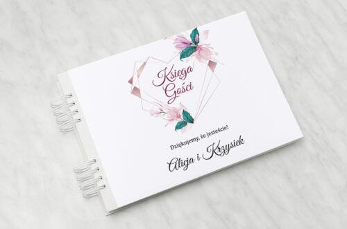 Księga gości ślubnych Geometryczne Serce – Różowe Kwiaty Jasne