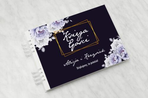 Księga gości ślubnych - Kontrastowe z kwiatami - Niebieskie róże