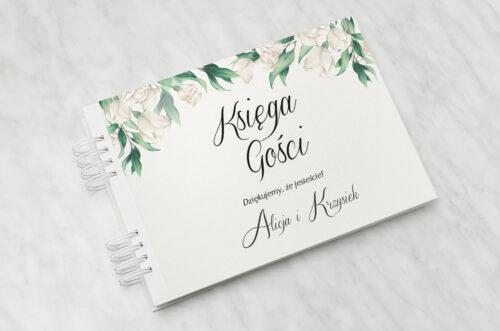 Księga gości ślubnych do zaproszenia: Kwiatowe Gałązki - Białe Róże