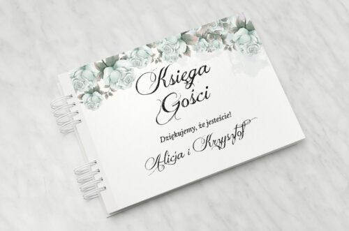Księga gości ślubnych do zaproszenia: Kwiatowe Gałązki - Błękitne Róże