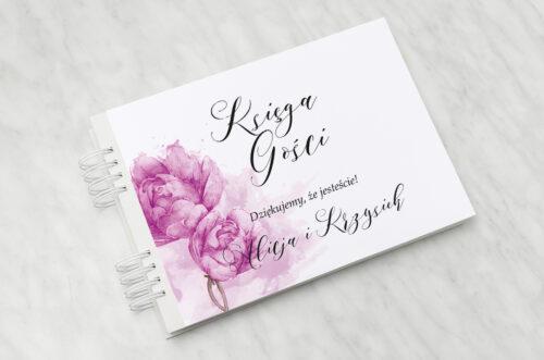 Księga gości ślubnych - Namalowane Kwiaty - Fioletowe kwiaty