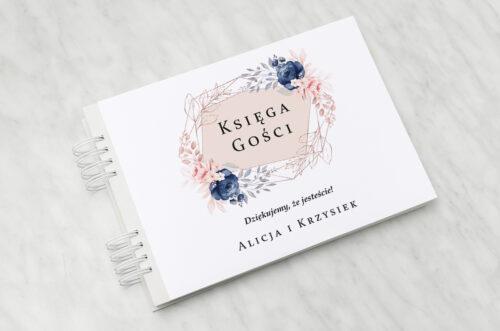 Księga gości ślubnych do zaproszenia: Pionowe ze wstążką – Granatowy akcent