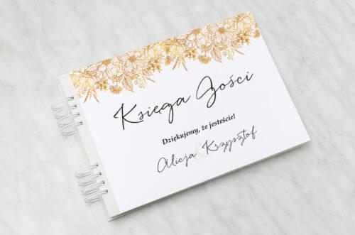 Księga gości ślubnych - Jednokartkowe z Kwiatami - Złote kwiaty