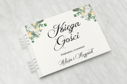 Księga gości ślubnych do zaproszenia: Kwiatowe Gałązki - Biało-Żółty Bukiet
