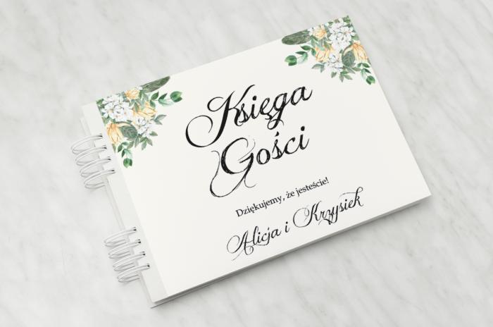 ksiega-gosci-slubnych-do-zaproszenia-kwiatowe-galazki-bialo-zolty-bukiet-papier-matowy-dodatki-ksiega-gosci