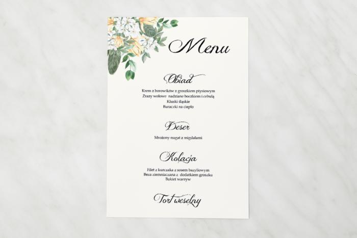 menu-weselne-kwiatowe-galazki-bialo-zolty-bukiet-papier-satynowany