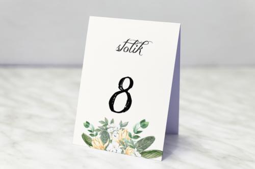 Numer stolika do zaproszenia ślubnego Kwiatowe Gałązki - Biało-Żółty Bukiet