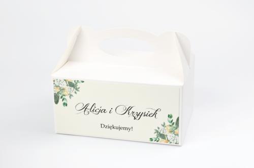 Ozdobne pudełko na ciasto - Kwiatowe Gałązki - Biało-Żółty Bukiet