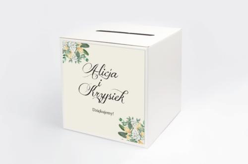 Personalizowane pudełko na koperty - Kwiatowe Gałązki - Biało-Żółty Bukiet