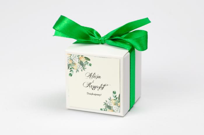 Ozdobne pudełeczko z personalizacją - Kwiatowe Gałązki - Biało-Żółty Bukiet