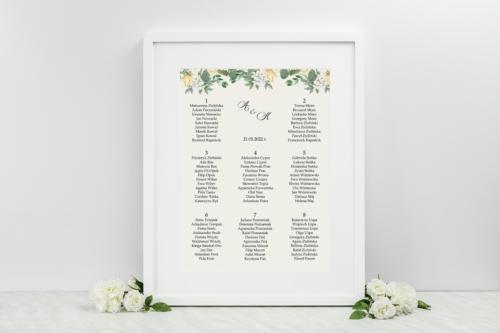 Plan stołów weselnych - Kwiatowe Gałązki - Biało-Żółty Bukiet