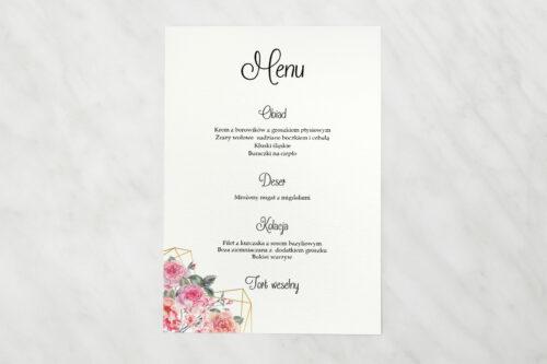 Menu weselne do zaproszenia ze zdjęciem i sznurkiem – Różowy bukiet w sercu