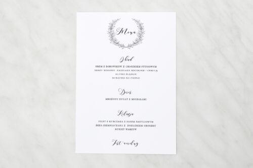 menu weselne do zaproszenia minimalistyczne laur