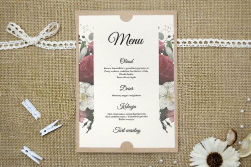 Menu weselne do zaproszenia ślubnego Boho Eleganckie – Czerwono biały bukiet