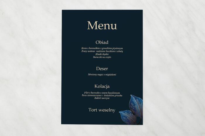 menu-weselne-pasujace-do-zaproszen-geometryczne-nowoczesne-niebieskie-listki-ciemne-papier-matowy