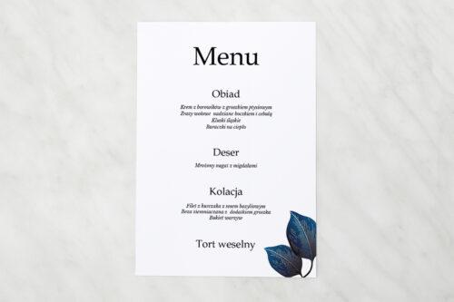 Menu weselne pasujące do zaproszeń Geometryczne Nowoczesne – Niebieskie Listki Jasne