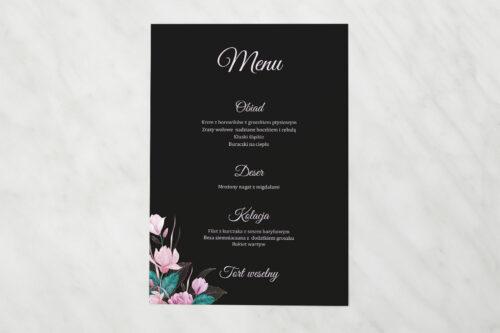 Menu weselne pasujące do zaproszeń Geometryczne Serce – Różowe Kwiaty Ciemne