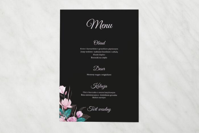 menu-weselne-pasujace-do-zaproszen-geometryczne-serce-rozowe-kwiaty-ciemne-papier-matowy