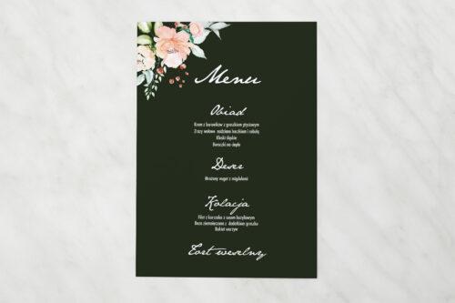 Menu weselne pasujące do zaproszenia Kontrastowe z kwiatami - Jasna kompozycja kwiatowa