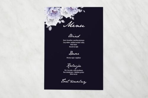 Menu weselne pasujące do zaproszenia Kontrastowe z kwiatami - Niebieskie róże