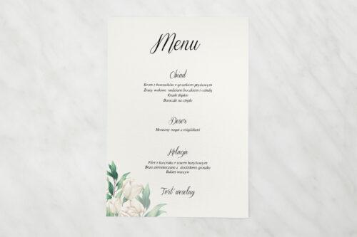 Menu weselne - Kwiatowe Gałązki - Białe Róże